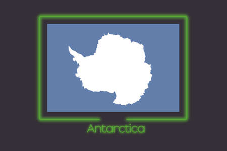 antartica: A Flag Illustration With a Neon Outline of Antartica