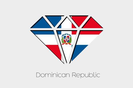 design media love: A Flag Illustration inside a Diamond of Dominican Republic Stock Photo