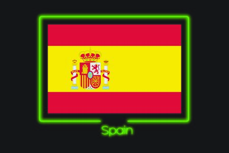 A Flag Illustration With a Neon Outline of Spain Фото со стока