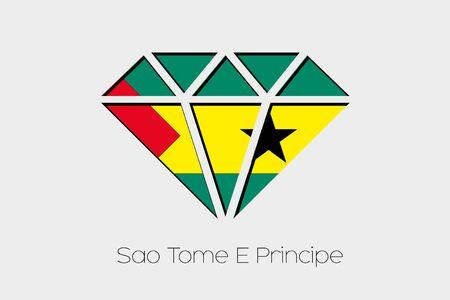 principe: Una ilustración de la bandera dentro de un diamante de Santo Tomé y Príncipe