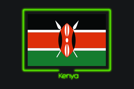 world flag: A Flag Illustration With a Neon Outline of Kenya
