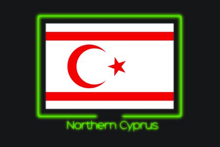 northern light: A Flag Illustration With a Neon Outline of Northern Cyprus