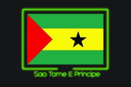 principe: Una ilustración de la bandera con un esquema de neón de Santo Tomé y Príncipe