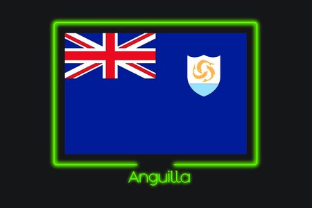 anguilla: A Flag Illustration With a Neon Outline of Anguilla
