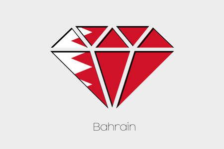 bahrain: A Flag Illustration inside a Diamond of Bahrain