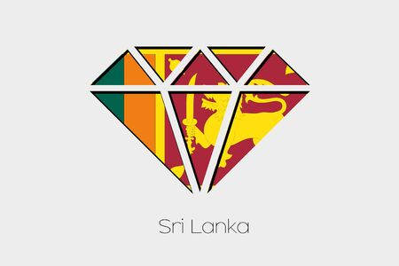 sri: A Flag Illustration inside a Diamond of Sri Lanka Stock Photo