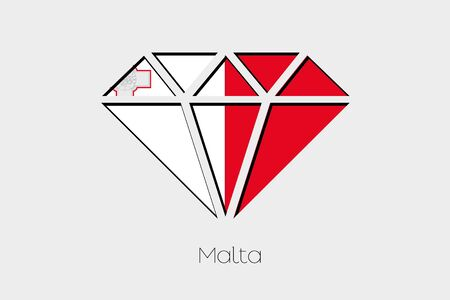 malta: A Flag Illustration inside a Diamond of Malta
