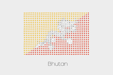 bhutan: A Flag Illustration of Bhutan