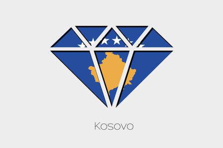design media love: A Flag Illustration inside a Diamond of Kosovo