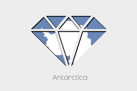 antartica: A Flag Illustration inside a Diamond of Antartica Stock Photo