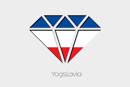 yugoslavia: A Flag Illustration inside a Diamond of Yugoslavia Stock Photo