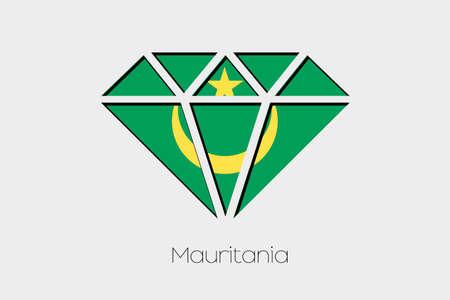 mauritania: A Flag Illustration inside a Diamond of Mauritania