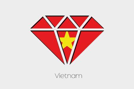 design media love: A Flag Illustration inside a Diamond of Vietnam