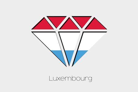 design media love: A Flag Illustration inside a Diamond of Luxembourg Stock Photo