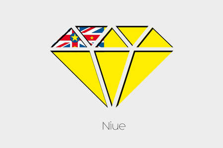 niue: A Flag Illustration inside a Diamond of Niue Stock Photo