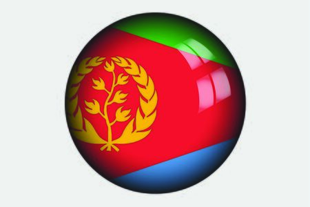 eritrea: A 3D Isometric Flag Illustration of the country of Eritrea Stock Photo