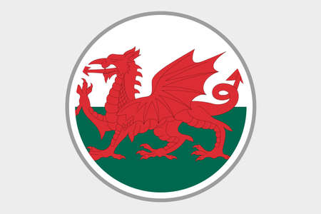 wales: A 3D Isometric Flag Illustration of the country of Wales Stock Photo
