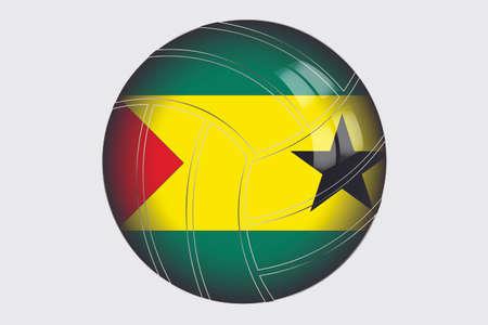 principe: Una ilustración de la bandera 3D isométrico del país de Santo Tomé y Príncipe Foto de archivo