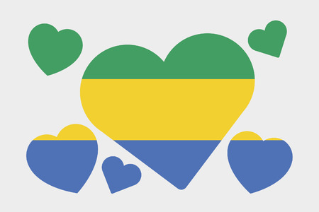 gabon: A 3D Isometric Flag Illustration of the country of Gabon