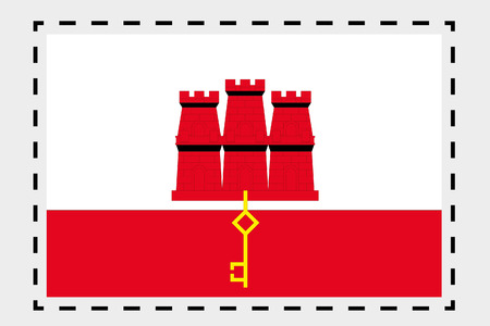 gibraltar: A 3D Isometric Flag Illustration of the country of Gibraltar Stock Photo