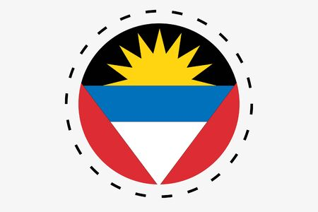 antigua: A 3D Isometric Flag Illustration of the country of Antigua and Barbuda