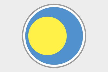 palau: A 3D Isometric Flag Illustration of the country of Palau Stock Photo