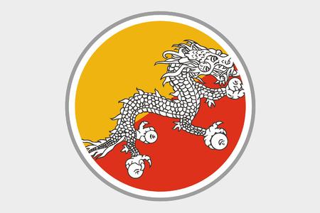 bhutan: A 3D Isometric Flag Illustration of the country of Bhutan Stock Photo