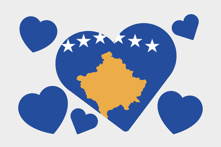 kosovo: A 3D Isometric Flag Illustration of the country of Kosovo