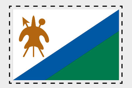 lesotho: A 3D Isometric Flag Illustration of the country of Lesotho