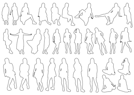 hot girl legs: A Collection of Female Outlines on White Background Stock Photo