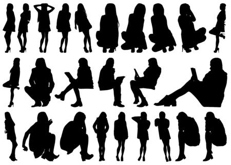 hot girl legs: A Collection of Female Silhouettes on White Background