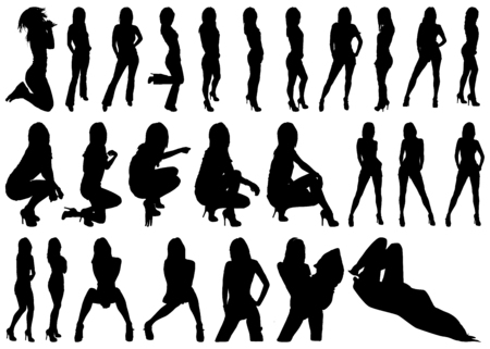 siluetas de mujeres: Una colección de siluetas Mujer en el fondo blanco
