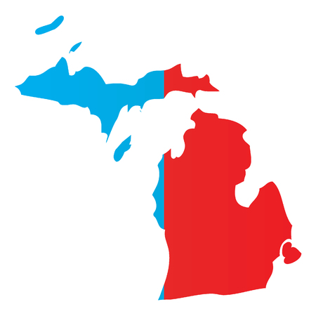 State Of Michigan Vector Red Map Silhouette. MI State Shape Icon ...