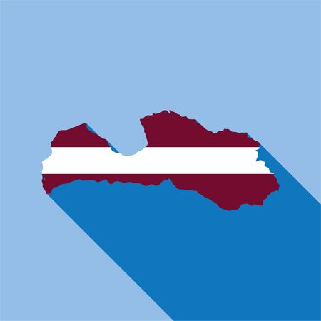Illustrated Country Shape with the Flag inside of Latvia Stock Photo
