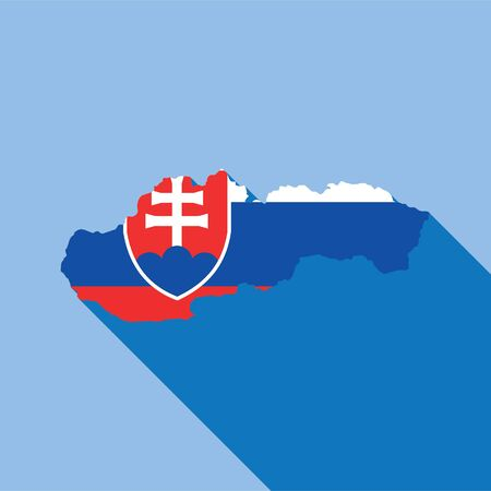 Illustrated Country Shape with the Flag inside of Slovakia