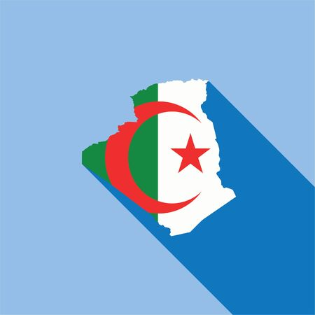 algeria: Illustrated Country Shape with the Flag inside of Algeria Stock Photo