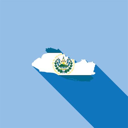 bandera de el salvador: Illustrated Country Shape con la bandera dentro de El Salvador