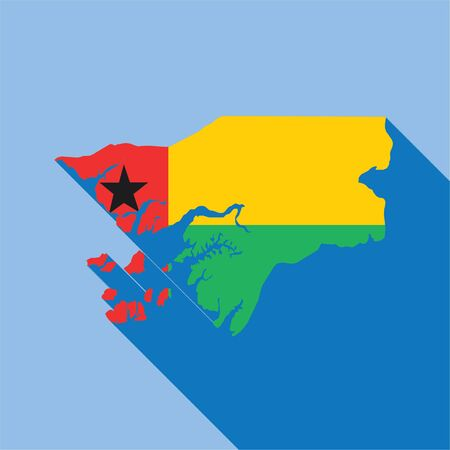 Illustrated Country Shape with the Flag inside of Guinea Bissau