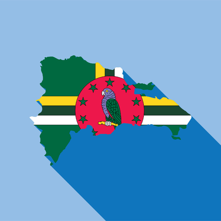 Illustrated Country Shape with the Flag inside of Dominica