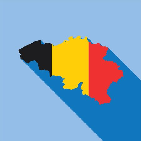 Illustrated Country Shape with the Flag inside of Belgium