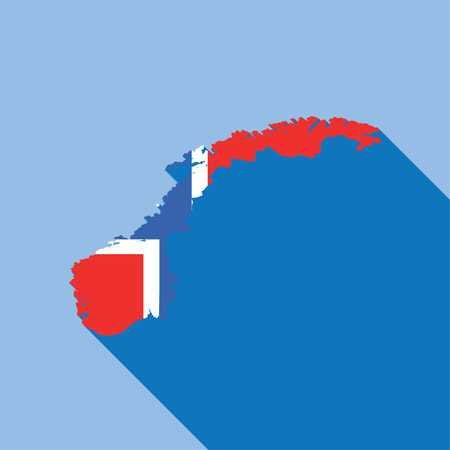 Illustrated Country Shape with the Flag inside of Norway