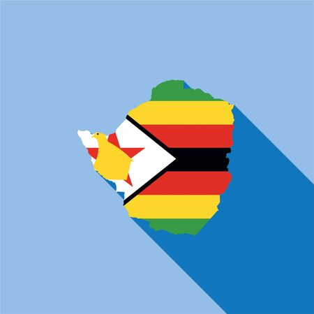 zimbabwe: Illustrated Country Shape with the Flag inside of Zimbabwe