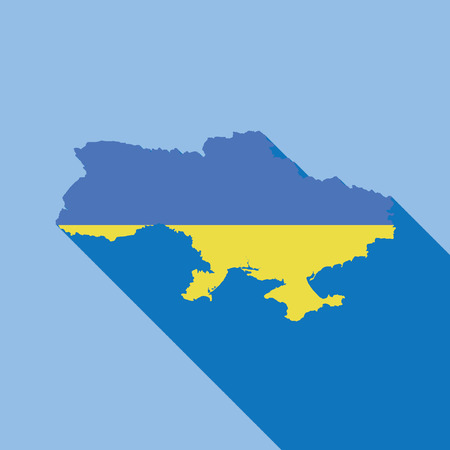 Illustrated Country Shape with the Flag inside of Ukraine