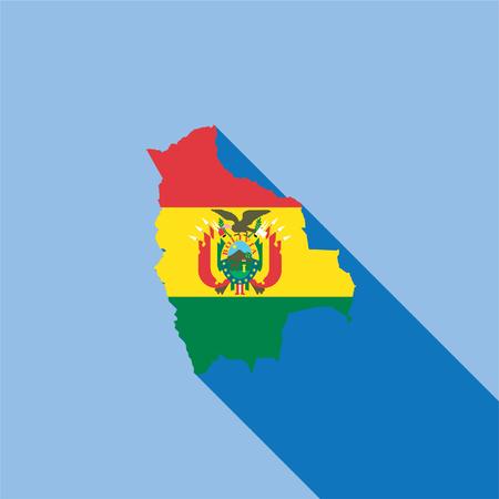 Forma ilustrada del país con la bandera dentro de Bolivia