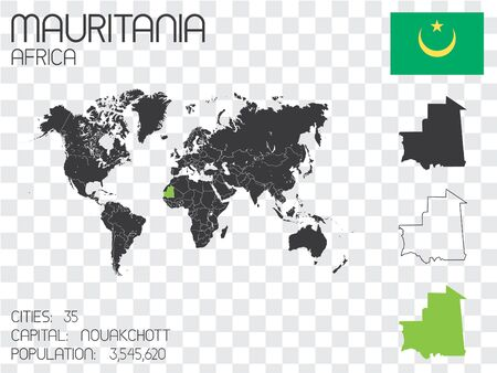Illustrated Country Shape with the Flag inside of Mauritania
