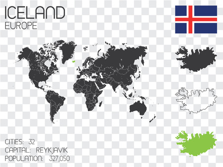 Illustrated Country Shape with the Flag inside of Iceland Stock Photo