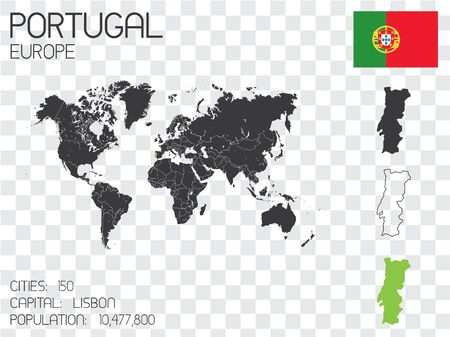physical geography: Illustrated Country Shape with the Flag inside of Portugal