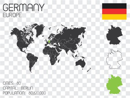 physical geography: Illustrated Country Shape with the Flag inside of Germany Stock Photo