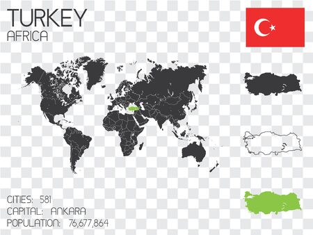 Illustrated Country Shape with the Flag inside of Turkey Stock Photo