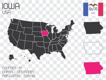 Un Conjunto De Infografía Elementos Para El Estado De Iowa Fotos ...